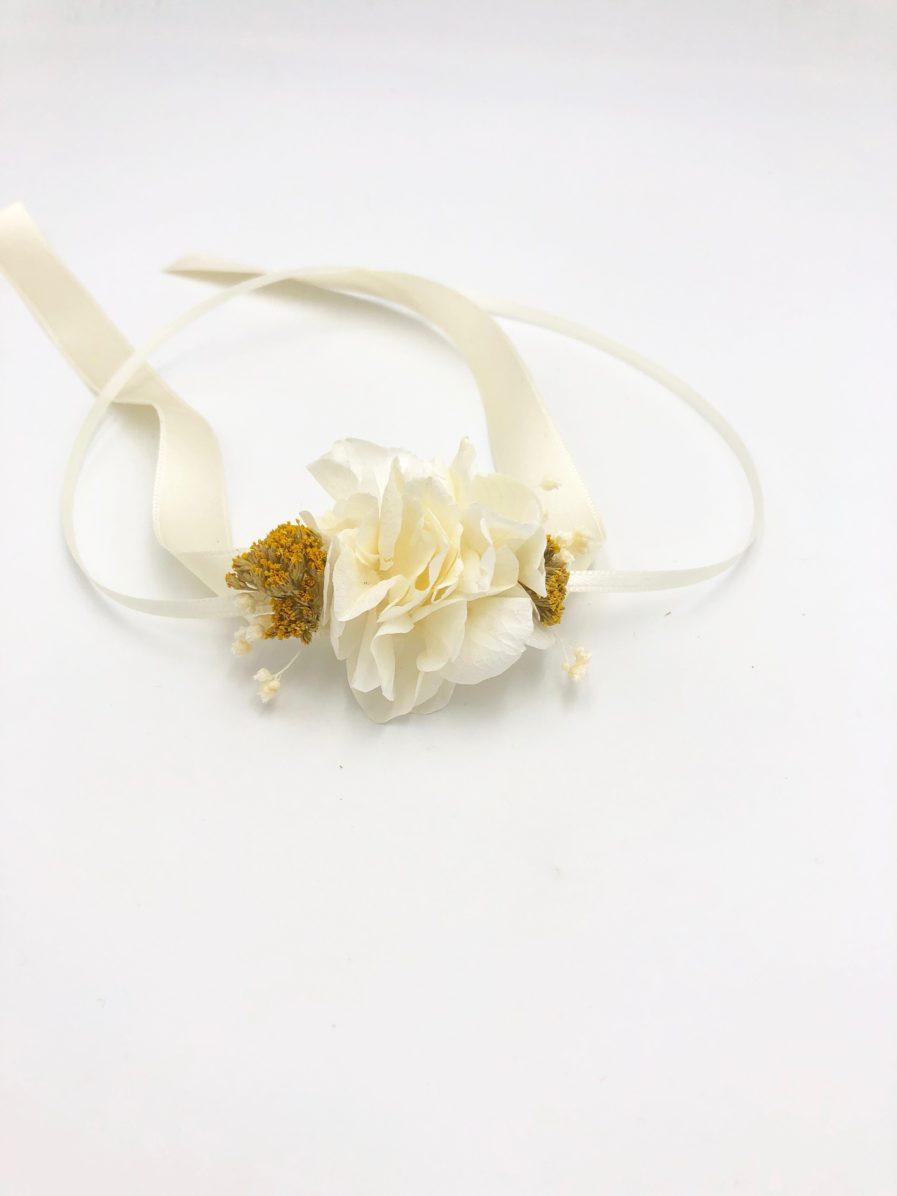 Bracelet en fleurs pour demoiselle d'honneur Hysope - Les Fleurs Dupont