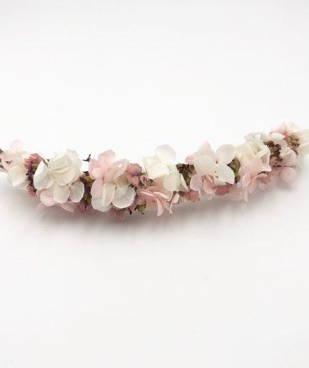 Barrette de fleurs Lilla - Fleurs séchées roses