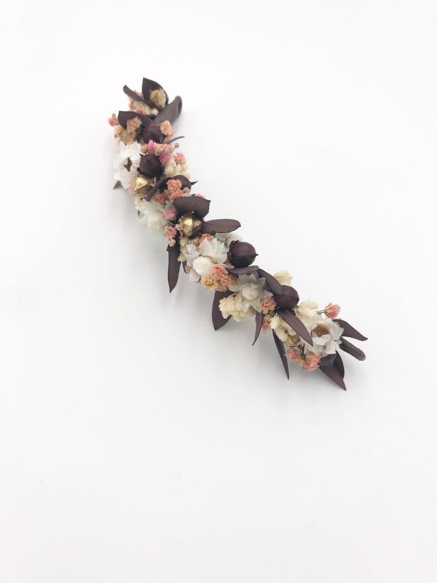 Barrette de fleurs Rhéa en fleurs séchées