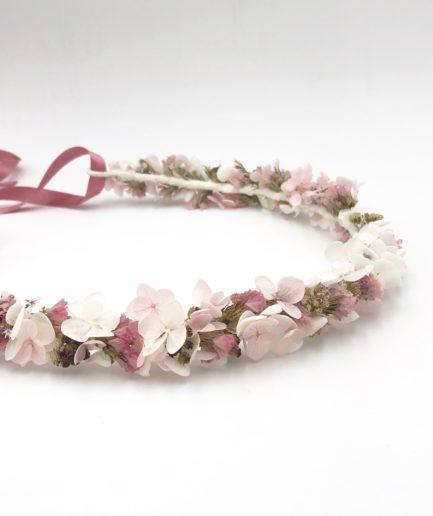 Couronne de fleurs Lilla - Tons rose poudré
