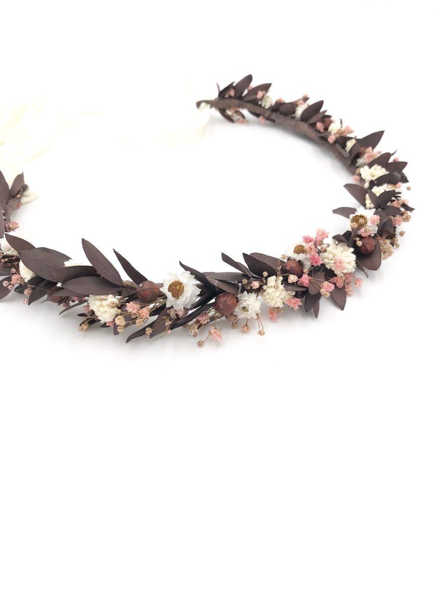 Couronne de fleurs champêtre Rhéa en fleurs séchées et stabilisées pour la mariée