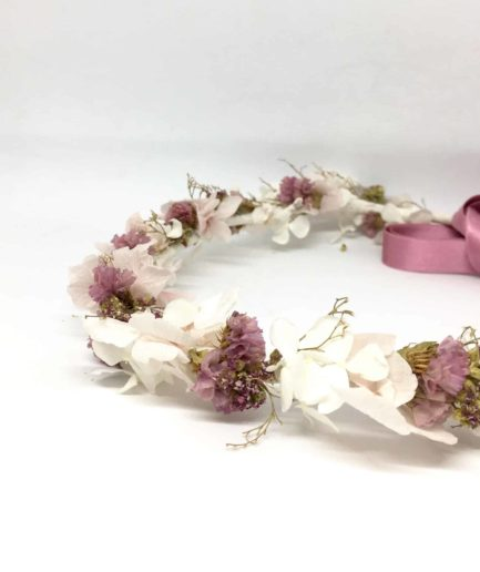 Couronne de mariage Lilla en fleurs séchées et stabilisées - Collection 2018
