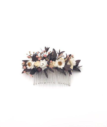 Peigne de mariage Rhéa en fleurs séchées et stabilisées
