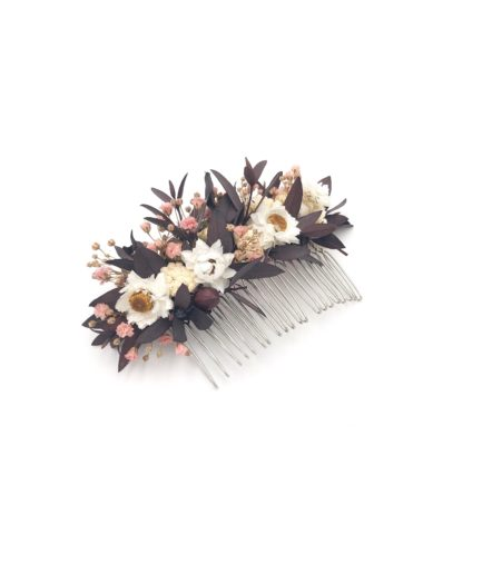 Peigne de mariage Rhéa en fleurs stabilisées