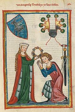 Porter une couronne de fleurs au Moyen ÂgeCodex_Manesse_Ulrich_von_Singenberg