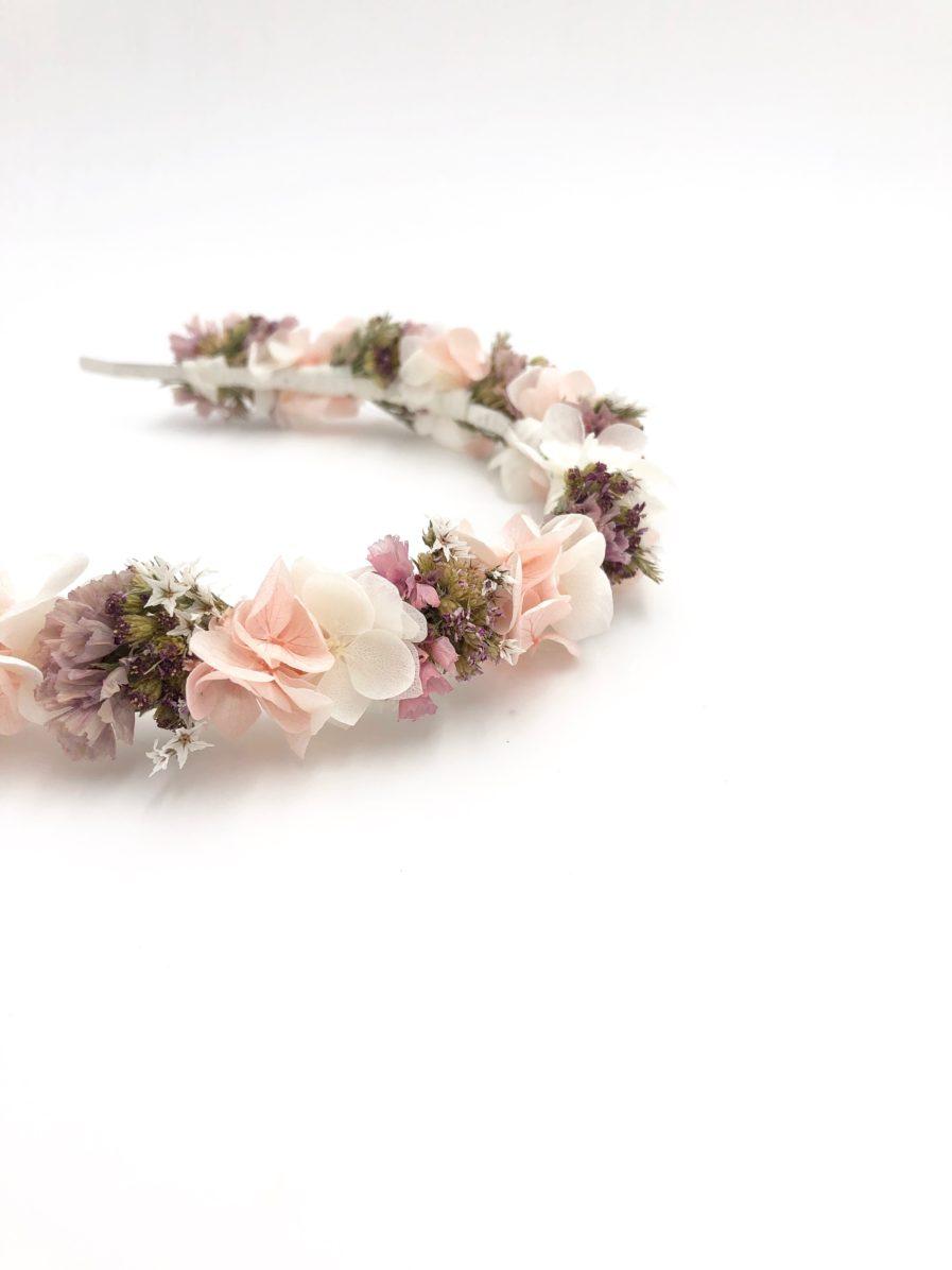 Headband de mariée Lilla en fleurs roses