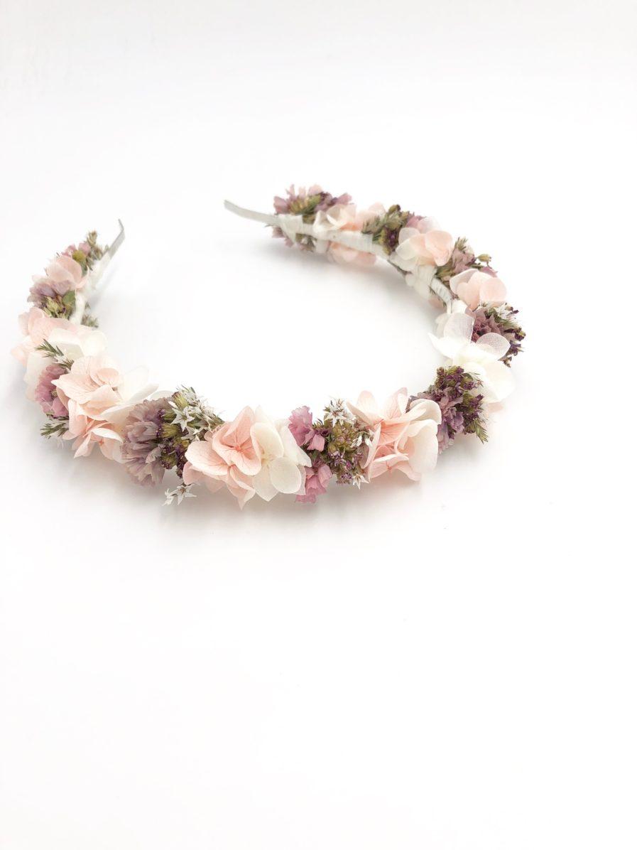 Headband de mariée Lilla en fleurs séchées roses