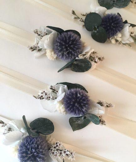Bracelet de demoiselles d'honneur Céleste - Collection Couture - Les Fleurs Dupont Tons bleus et ivoire