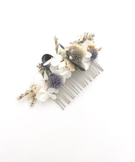 Peigne de fleurs Céleste avec echinops