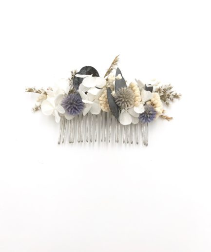 Peigne de mariage Céleste en fleurs séchées et stabilisées
