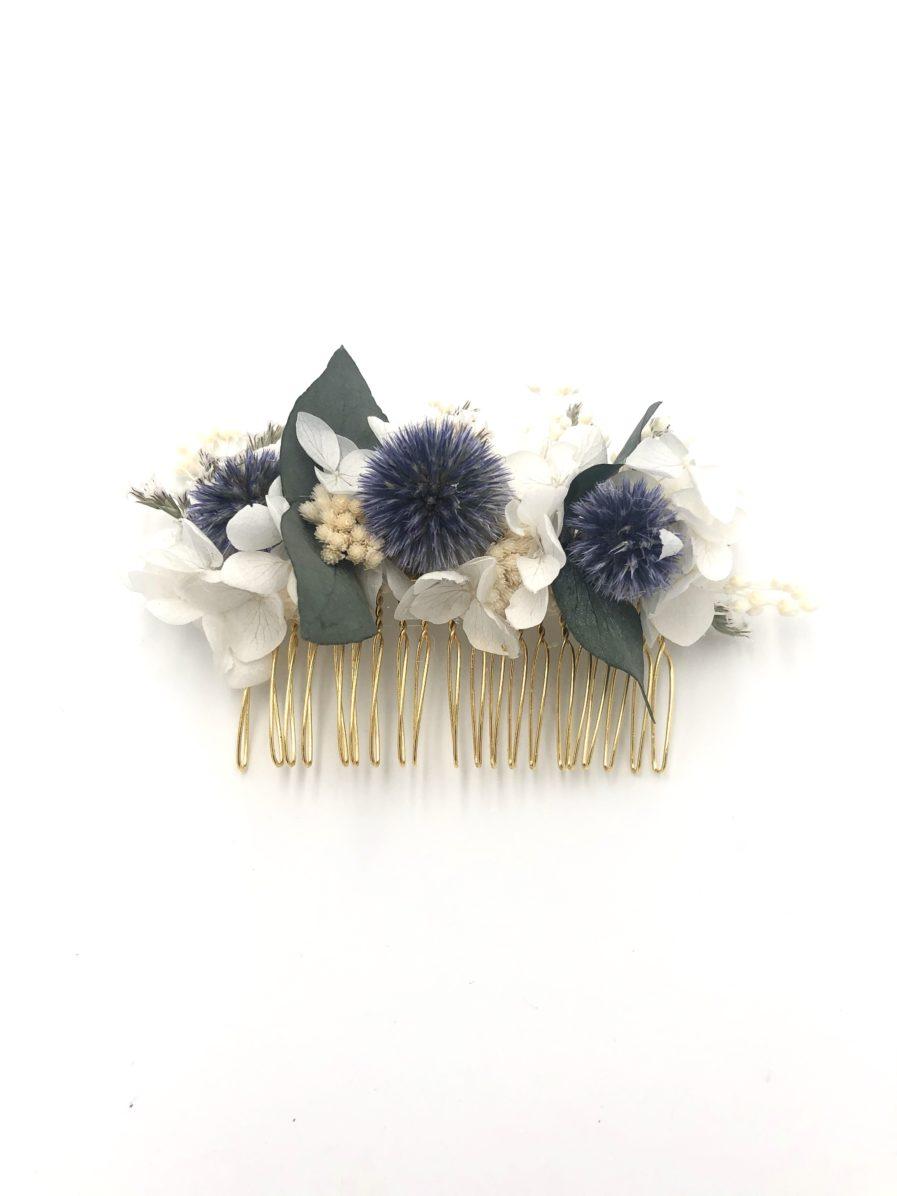 Peigne de mariage Céleste en fleurs séchées et chardons