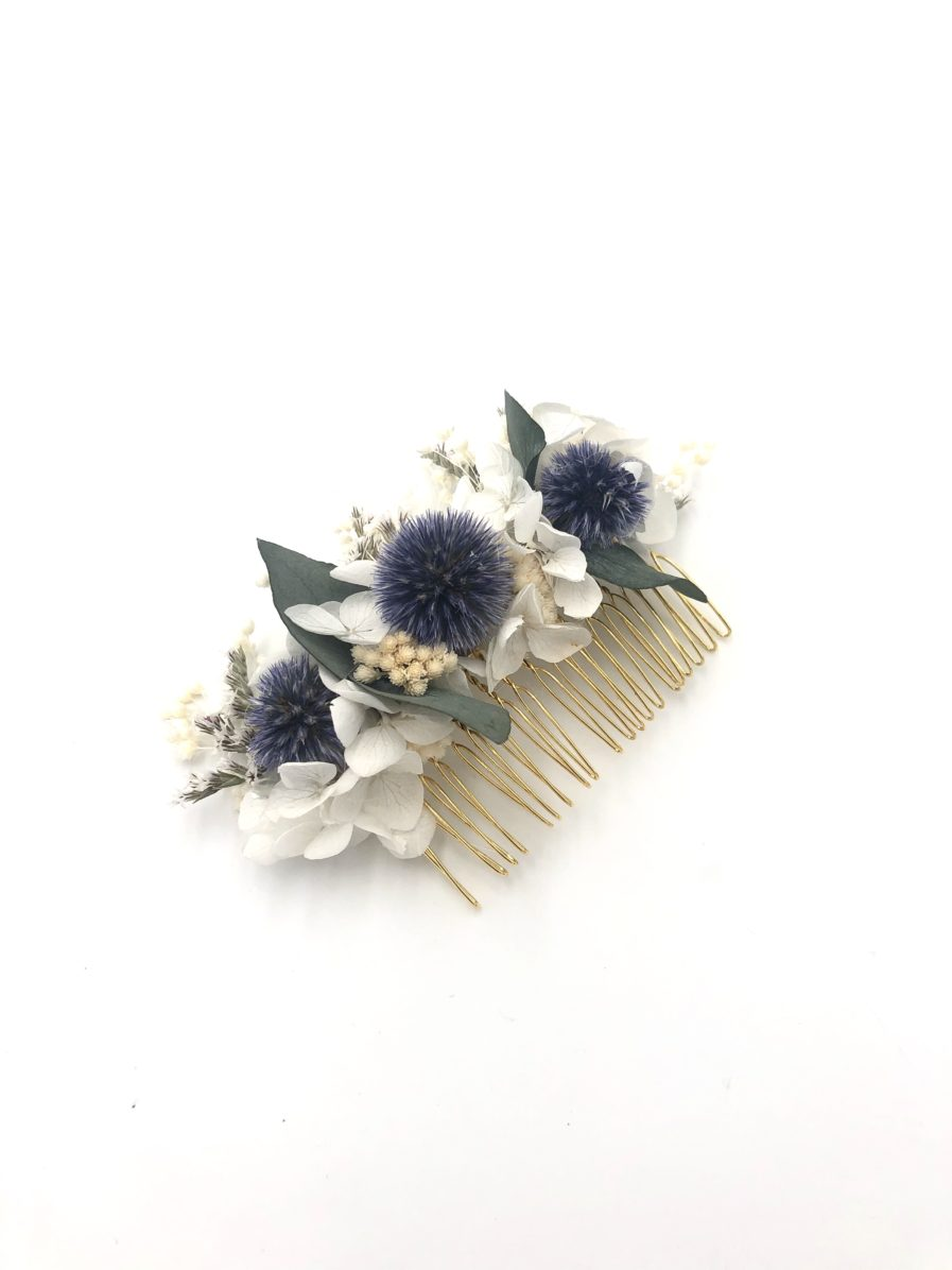 Peigne en fleurs séchées Céleste avec echinops