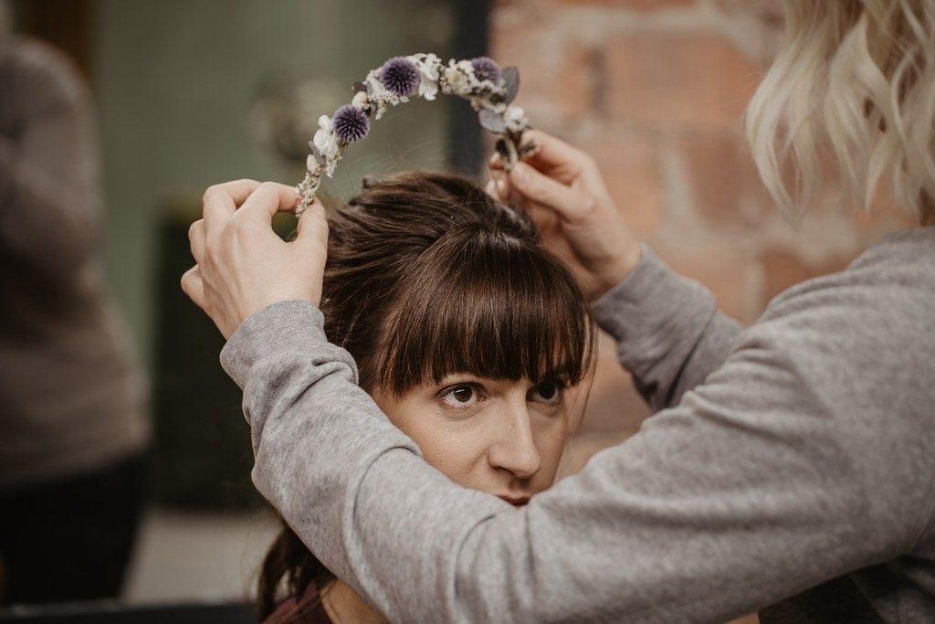 Headband de mariage Céleste en fleurs séchées et stabilisées - Les Fleurs Dupont - Mariage Industriel - Fanny Ingold