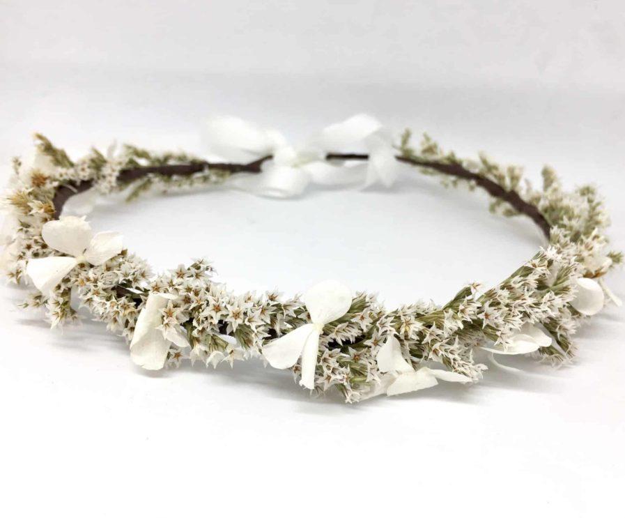 Couronne de fleurs de mariée Aster en fleurs séchées et stabilisées - Collection 2018