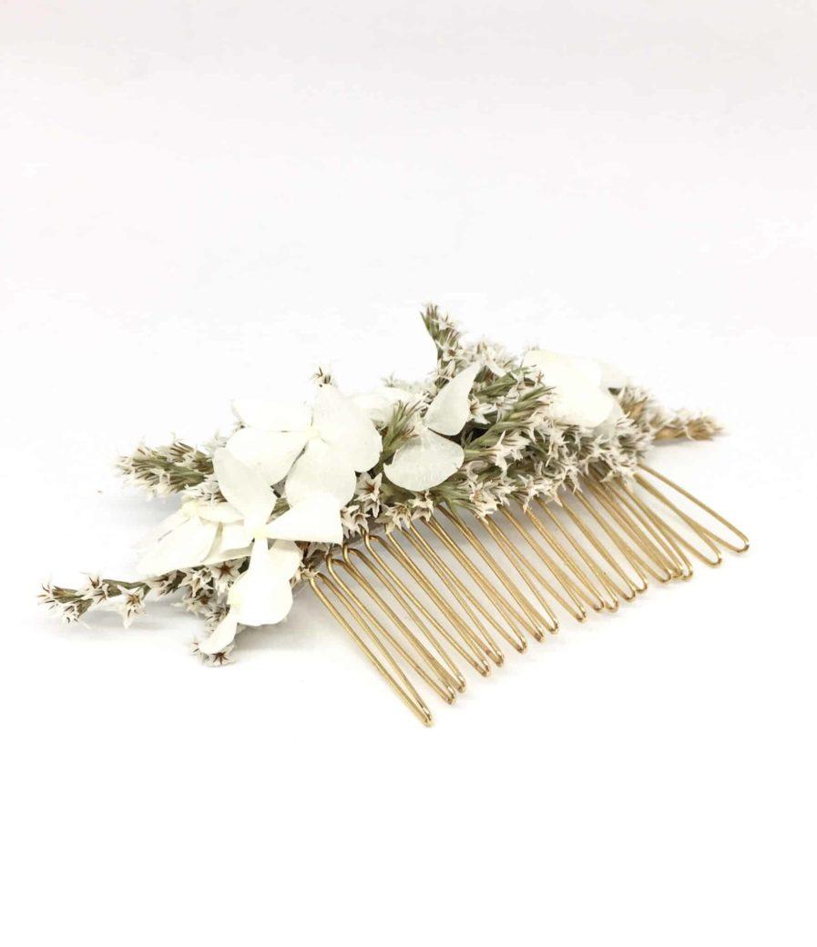 Peigne de mariée Aster en fleurs séchées et stabilisées - Les Fleurs Dupont - Peignes de mariage