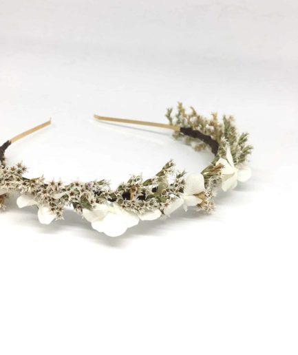 Headband de mariage Aster - Serre-tête en fleurs séchées et stabilisées - Les Fleurs Dupont