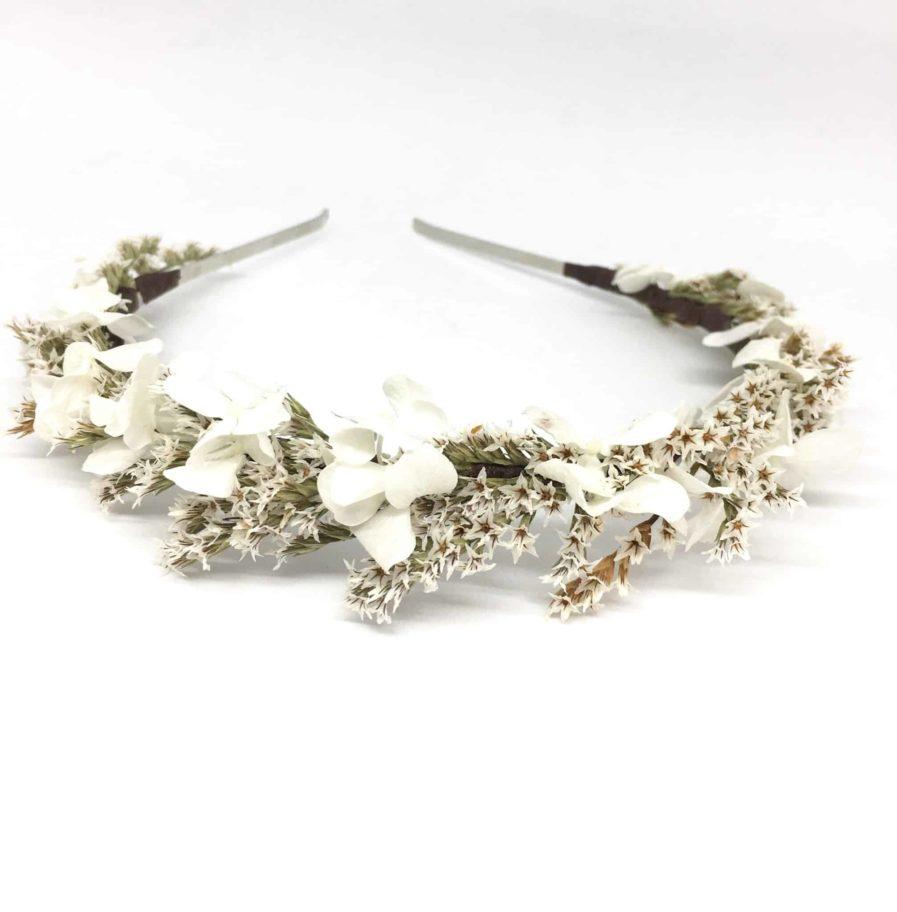 Headband de mariage Aster - Serre-tête en fleurs séchées et stabilisées - Collection 2018