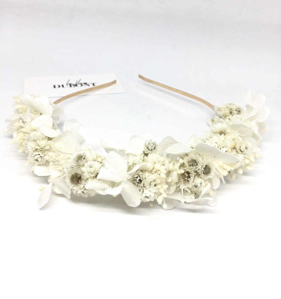 Headband de mariage Immortelle en fleurs naturelles - Accessoire mariage en fleurs séchées et stabilisées - Les Fleurs Dupont - Collection Immaculée