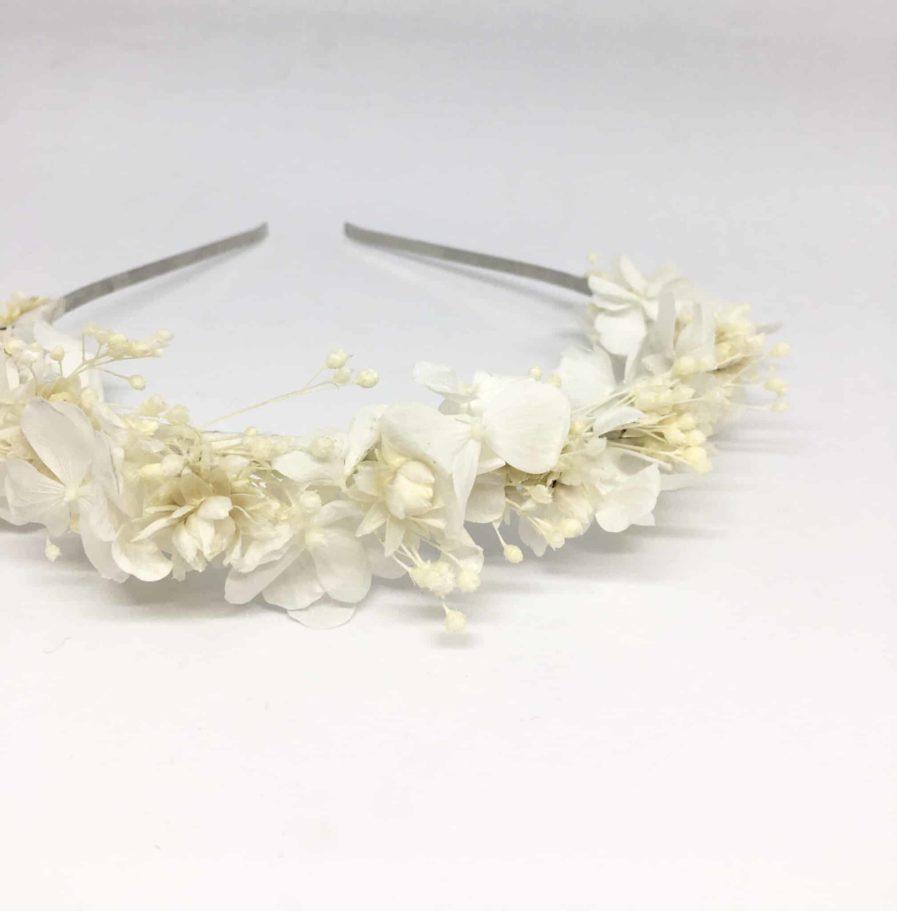 Headband de Mariage Candide - Fleurs séchées et naturelles blanches et ivoire pour les mariages. Serre-tête de mariage en fleurs naturelles Fait main en France - Les Fleurs Dupont