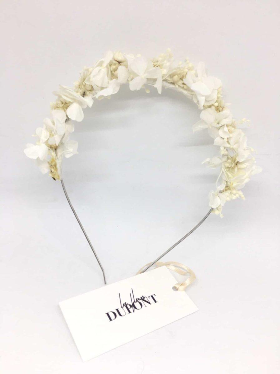 Headband de Mariage Candide - Fleurs séchées et naturelles blanches et ivoire pour les mariages. Serre-tête de mariage en fleurs naturelles Fait main en France