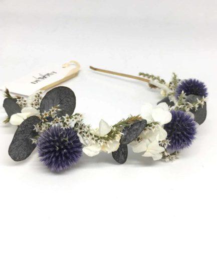 Headband de fleurs Céleste - Collection Couture - Fleurs Dupont - Accessoires de mariage - Tons bleu et ivoire