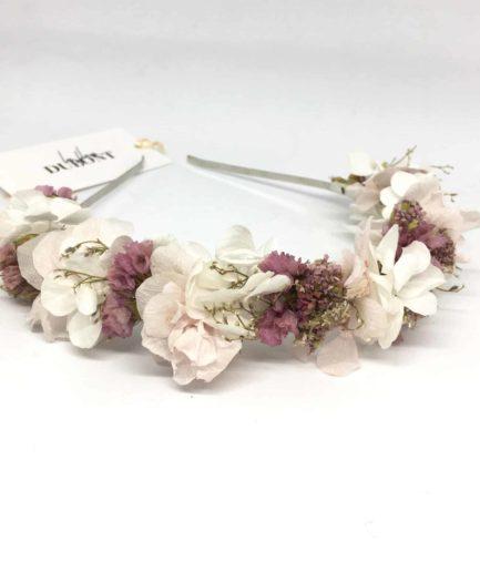 Headband de mariée Lilla - Couleur rose - Collection romantique -Fleurs Dupont