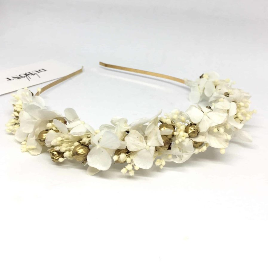 Headband de mariage Aura - Accessoires en fleurs séchées et stabilisées