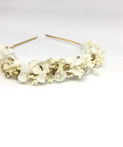 Headband de mariage Aura en fleurs naturelles séchées et stabilisées - Accessoire de cheveux pour la mariée