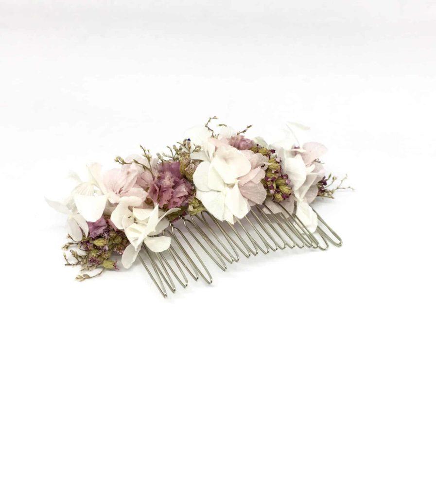 Peigne de fleurs Lilla - Peigne de mariage en fleurs séchées et stabilisées - Accessoire de cheveux pour la mariée romantique - Rose poudré