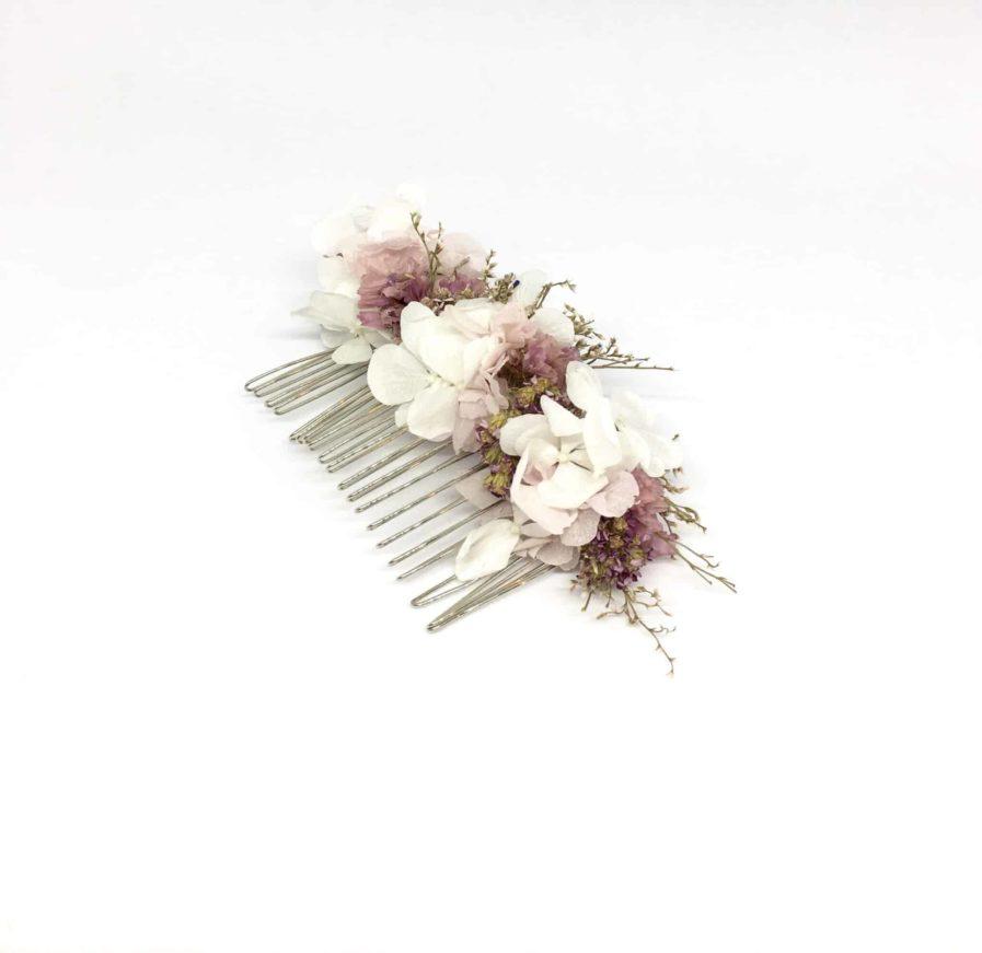 Peigne de fleurs Lilla - Peigne de mariage en fleurs séchées et stabilisées - Accessoire de cheveux pour la mariée romantique et chic