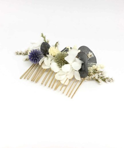 Peigne Céleste - Peigne de mariage en fleurs séchées et stabilisées - Collection 2018