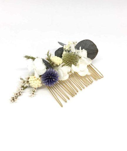 Peigne Céleste - Peigne de mariage en fleurs séchées et stabilisées - Les Fleurs Dupont