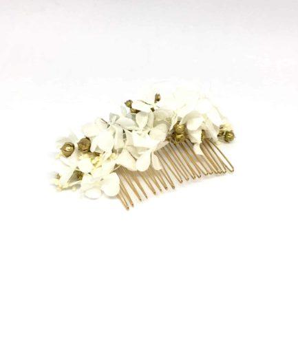 Peigne de mariage Aura en fleurs naturelles - Accessoire doré et blanc - Les Fleurs Dupont