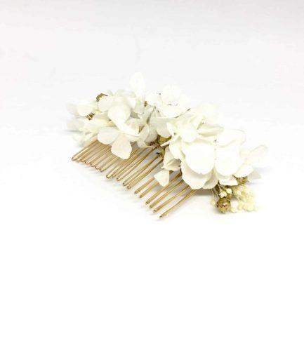 Peigne de mariage Aura en fleurs naturelles - Accessoire doré et blanc - Collection couture