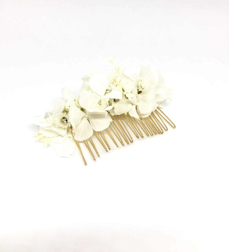 Peigne de mariage Immortelle en fleurs naturelles - Accessoire de mariage en fleurs séchées et stabilisées - Les Fleurs Dupont - Accessoire de mariage en fleurs