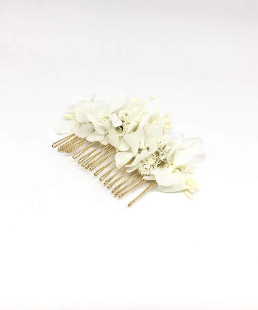 Peigne de mariage Immortelle en fleurs naturelles - Accessoire de mariage en fleurs séchées et stabilisées - Les Fleurs Dupont - immaculée