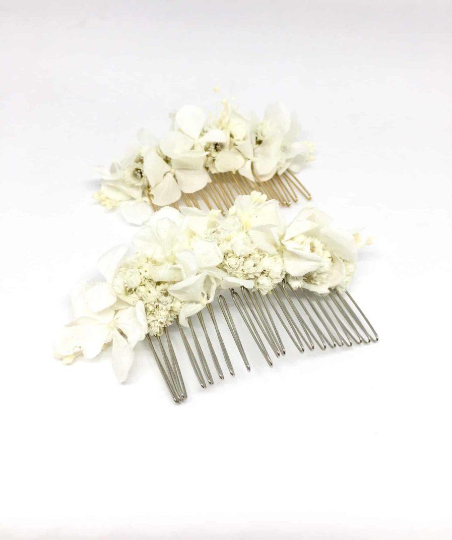 Peigne de mariage Immortelle en fleurs naturelles - Accessoire de mariage en fleurs séchées et stabilisées - Les Fleurs Dupont - Accessoire de mariage en fleurs séchées