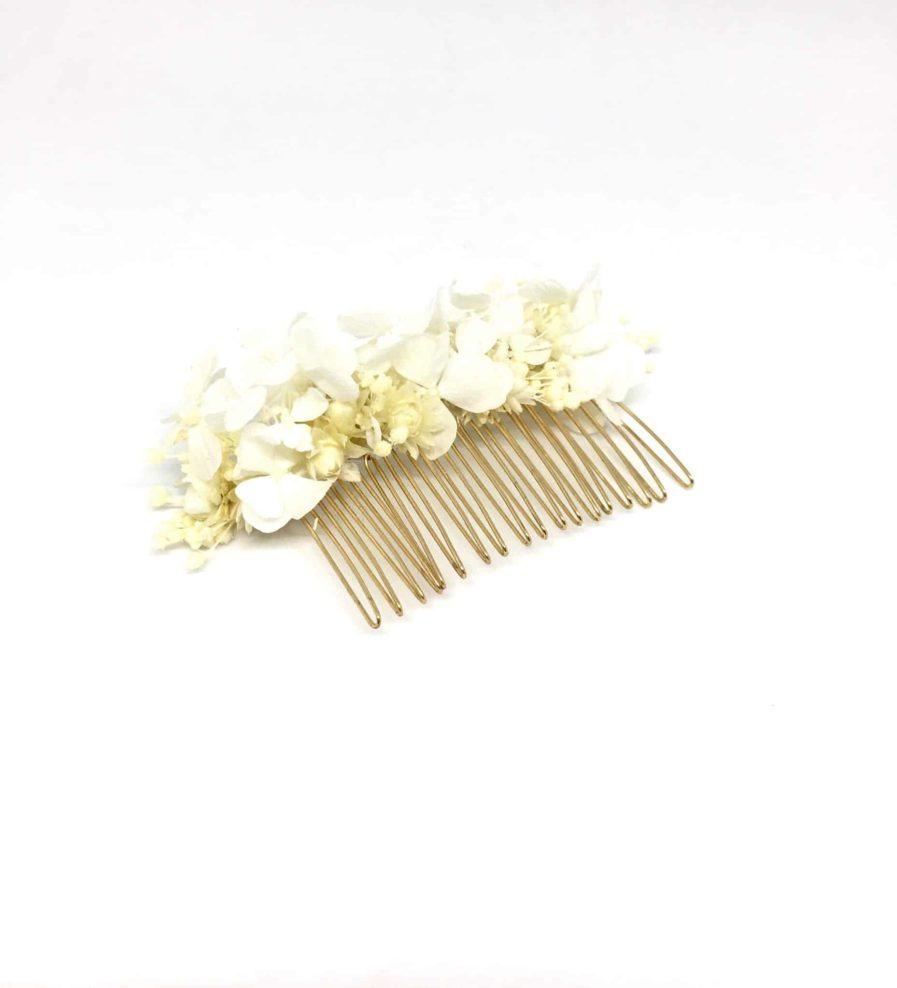 Peigne de mariée Candide en fleurs naturelles séchées