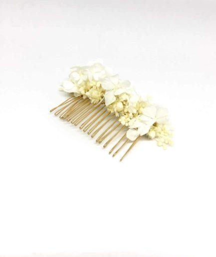 Peigne de mariée Candide en fleurs naturelles - Les Fleurs Dupont