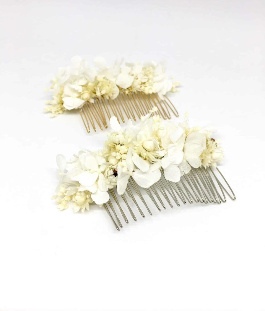 Peigne de mariée Candide en fleurs naturelles - Accessoire de mariage en fleurs