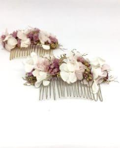 Peigne de fleurs Lilla - Peigne de mariage en fleurs séchées et stabilisées - Accessoire de cheveux pour la mariée romantique et bohème