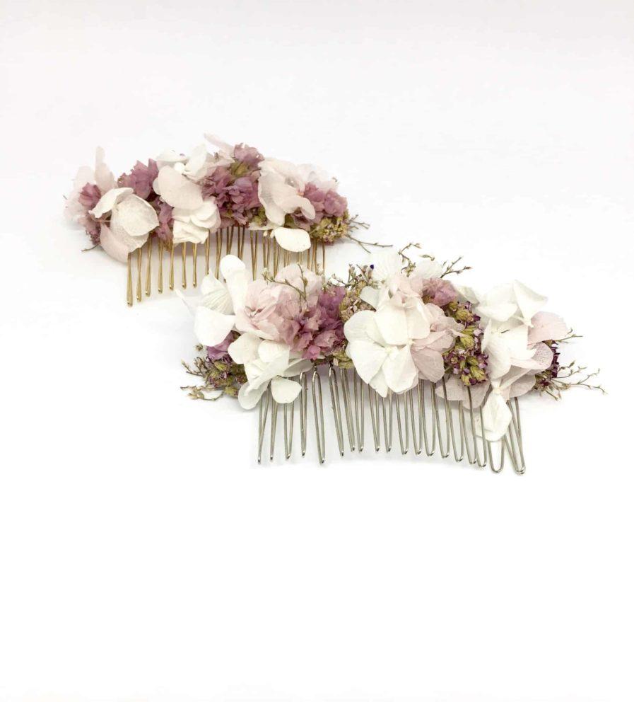 Peigne de fleurs Lilla - Peigne de mariage en fleurs séchées et stabilisées - Accessoire de cheveux pour la mariée romantique - Les Fleurs Dupont