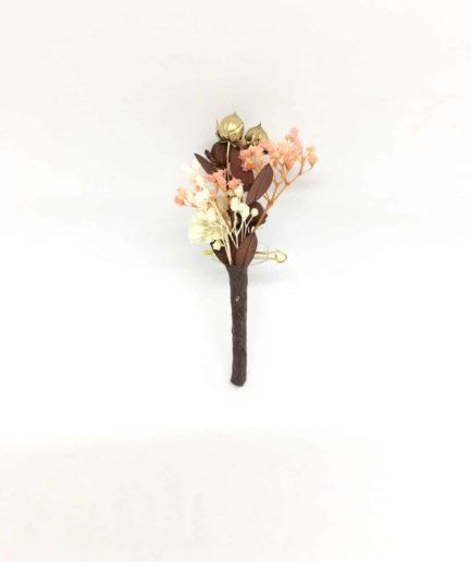 Boutonnière de mariage Rhéa en fleurs naturelles séchées et stabilisées - Les Fleurs Dupont