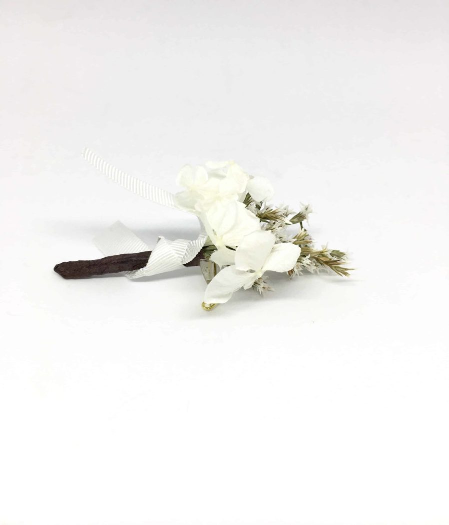 Boutonnière de mariage Aster en fleurs séchées et stabilisées - Les Fleurs Dupont