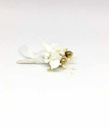 Boutonnière de mariage Aura - Les Fleurs Dupont - Fleurs séchées et sabilisées