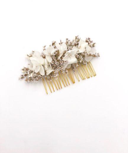 Peigne de fleurs séchées Aster - Mariage chic et romantique