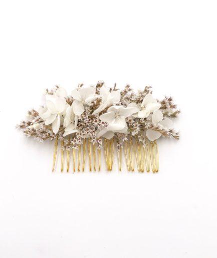 Peigne de mariée Aster en fleurs séchées - Les Fleurs Dupont