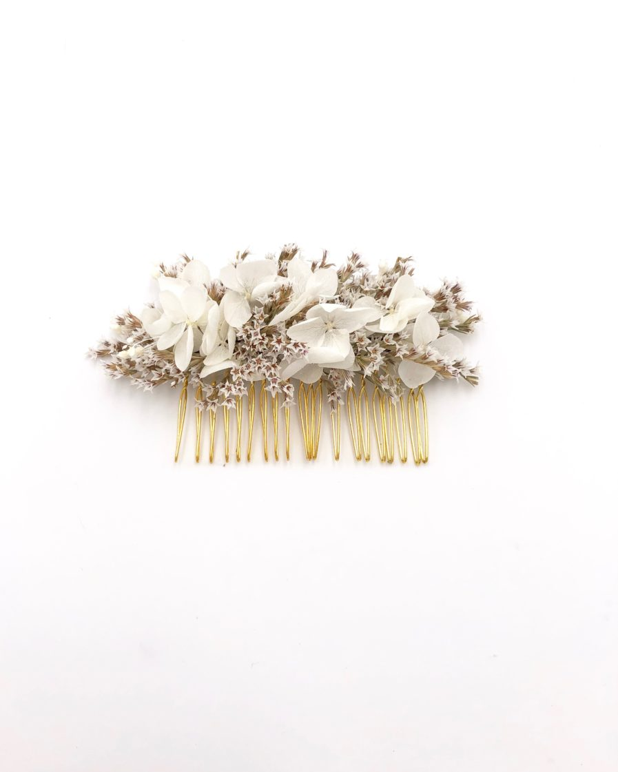 Peigne de mariée en statice tatarica séché Aster - Collection Immaculée