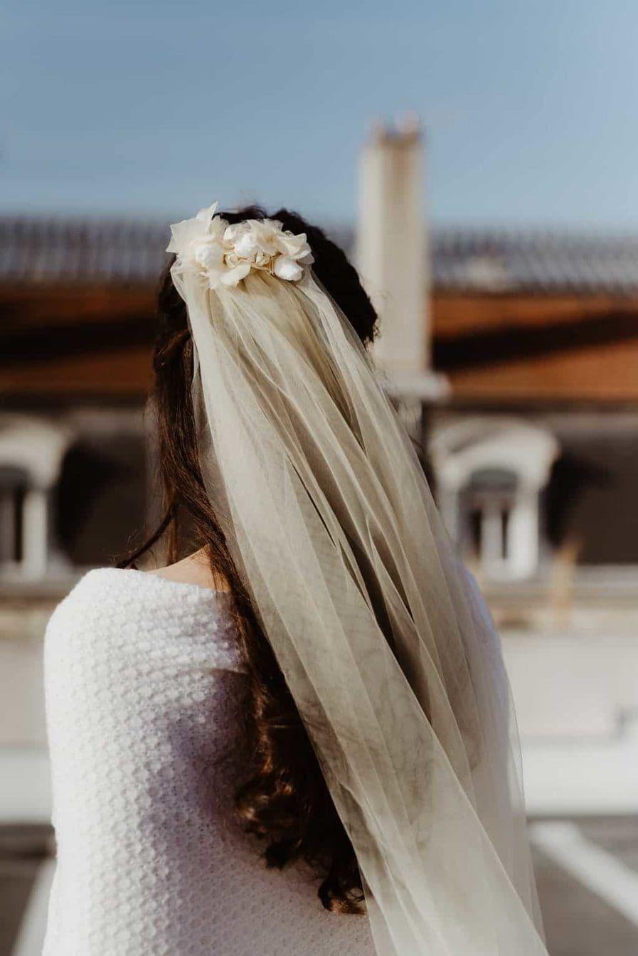 Photographie Anaïs Nannini - Voile de mariée fleuri Ella - Couleur Champagne - Voile de mariage fleuri - Collection capsule 2018