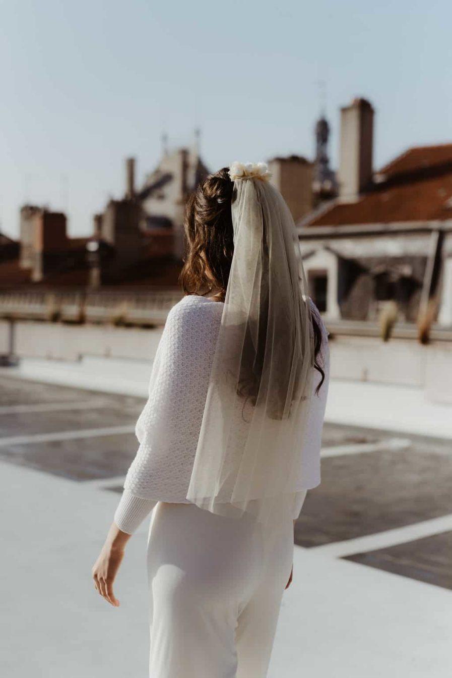 Photographie Anaïs Nannini - Voile de mariée en fleurs Ella - Couleur Champagne - Voile de mariage fleuri